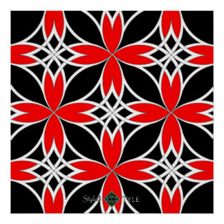 Mirrored Celtic ( Red Invert ) Poster