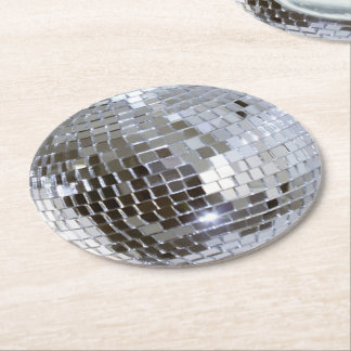 Mirrored Disco Ball 1 Round Paper Coaster