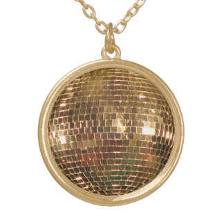 Mirrored Disco Ball 2 Gold Plated Necklace