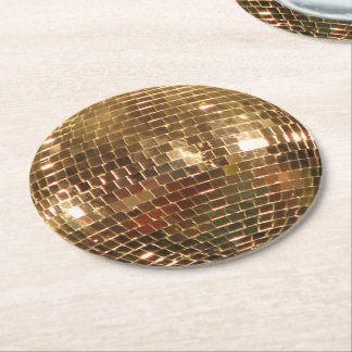 Mirrored Disco Ball 2 Round Paper Coaster