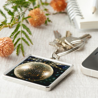 Mirrored Disco Ball 3 Silver-Colored Square Keychain