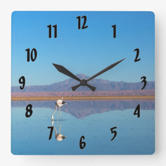 Mirrored Flamingo Square Wall Clock