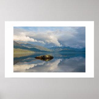 Mirrored Mountain Lake Poster Print Wall Art