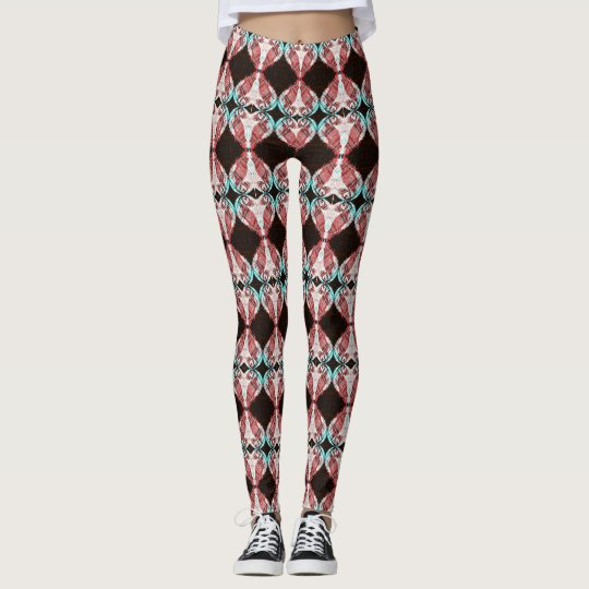 Mirrored Puffin Heart Patterned Leggings