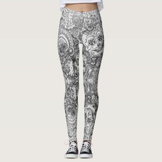Mirrored Sugar Skull Doodle Pattern Leggings
