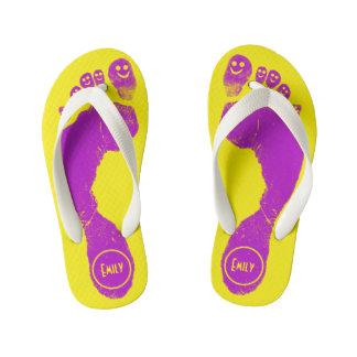 Mirth Purple Footprints Smiley-Toes™ Neon Yellow Kid's Flip Flops