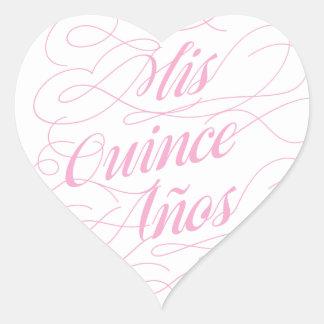 Mis Quince Años Heart Quinceañera Stickers
