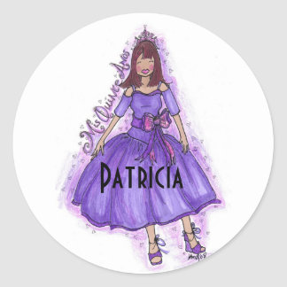 MIS QUINCE ANOS - PURPLE CLASSIC ROUND STICKER
