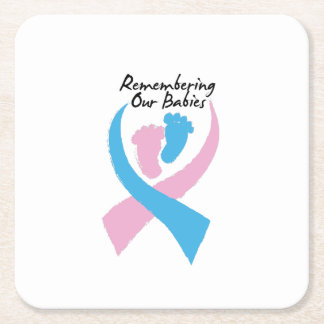 Miscarriage Awareness Remembering Our Babies Square Paper Coaster
