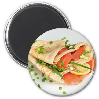Miscellaneous - Salmon Pancakes One 2 Inch Round Magnet