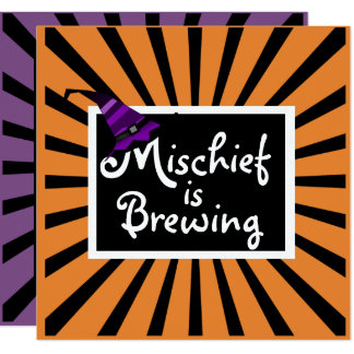 """Mischief is Brewing"" Fun Halloween Invitation"