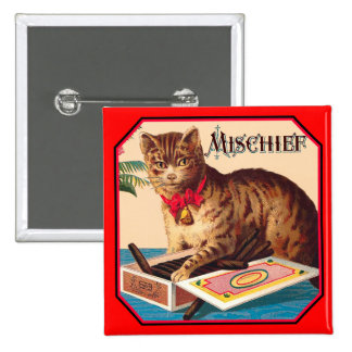 Mischief the Cat 2 Inch Square Button