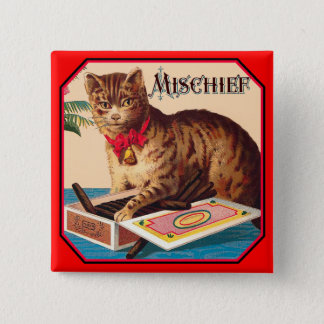 Mischief the Cat - Vintage Ad 2 Inch Square Button