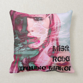 Misfit Rebel Trouble Maker Throw Pillow