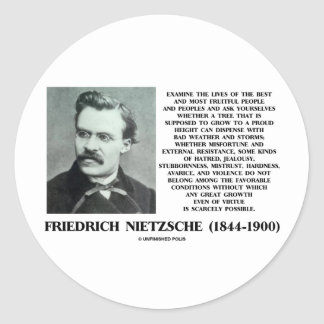 Misfortune Favorable Conditions Growth Nietzsche Classic Round Sticker