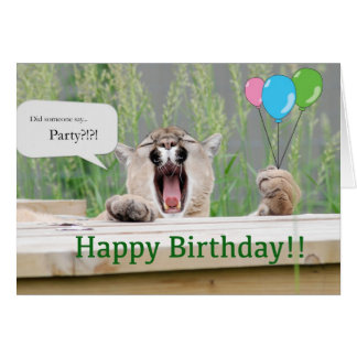 Misha - Cougar Birthday Card