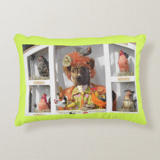 Misha in the Hen House Card Decorative Pillow