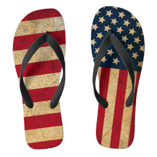 Mismatched Americana Stars and Stripes Flip Flops
