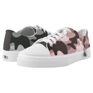Mismatched Gray & Pink Camo Low-Top Sneakers