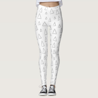 Mismatched Triangle Leggings, White Leggings
