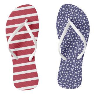 Mismatched US flag patriotic flip flops