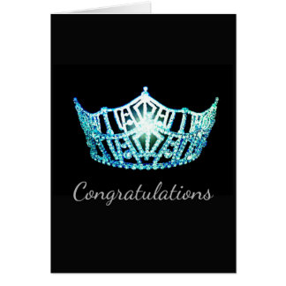 Miss America Aqua Crown Greeting Card-Congrats Card