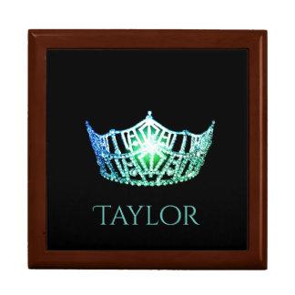 Miss America Aqua Crown Personal Name Jewerly Box Keepsake Box