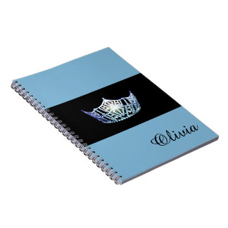 Miss America Baby Blue Crown Notebook- Custom Name Notebooks