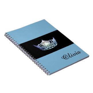 Miss America Baby Blue Crown Notebook- Custom Name Spiral Note Book
