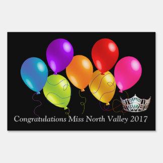 Miss America Balloons Crown Custom Image Yard Sign