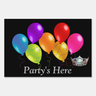Miss America Balloons Crown Party's Here Yard Sign