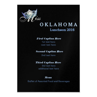 Miss America Black Shimmer Luncheon Program Card