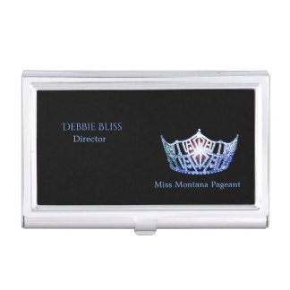 Miss America Blue Crown Business Card Holder