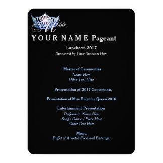 "Miss America Blue Crown Luncheon Program Card 5.5"" X 7.5"" Invitation Card"
