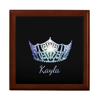 Miss America Blue Crown Personal Name Jewerly Box Jewelry Box