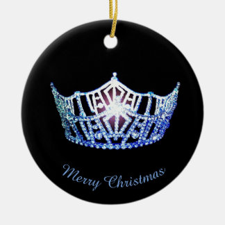 Miss America Blue Crown Round Ornament