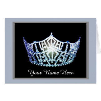 Miss America Blue Crown Thank You Card-Printed Card