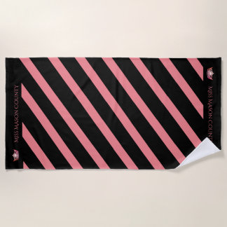 Miss America Coral Stripe Crown Beach Towel