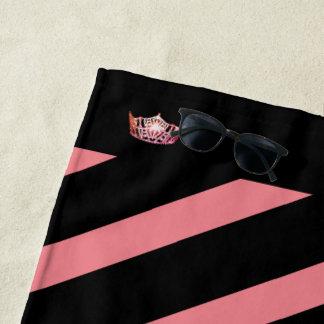Miss America Coral Stripe Crown Beach Towel