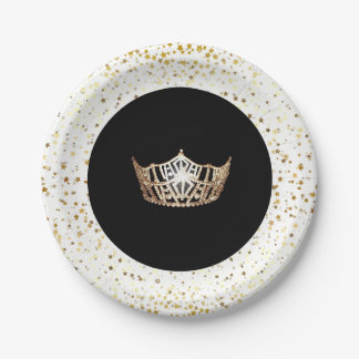 "Miss America Crown 7"" Party Paper Plates-Stars Paper Plate"