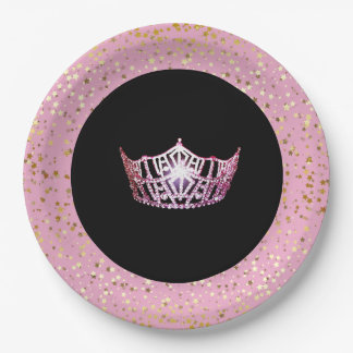 Miss America Crown Paper Plates-Golden Stars PInk Paper Plate