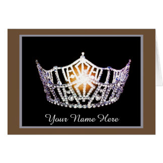 Miss America Crown Thank You Card in BRWN/SLVR