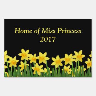 Miss America Daffodil Custom Name Yard Sign