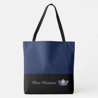 Miss America Frost Blue Crown Tote Bag-Large Navy