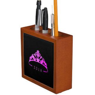 Miss America Fuchsia CRWN Wood Desk Organizer-Date Desk Organizer
