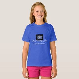 Miss America Girls Blue Crown Custom Name Top