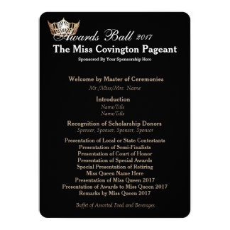 "Miss America Gold Crown 2 Awards Ball Program Card 5.5"" X 7.5"" Invitation Card"