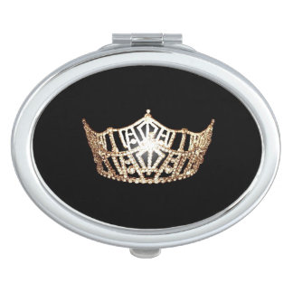 Miss America Gold Crown Compact Mirror