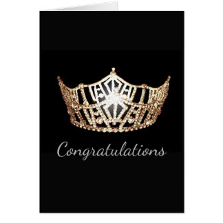Miss America Gold Crown Greeting Card-Congrats Card