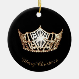 Miss America Gold Crown Round Ornament